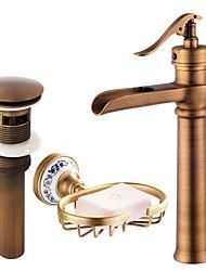 Недорогие -По центру Водопад Керамический клапан Одной ручкой одно отверстие Античная медь, Смеситель