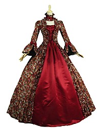 cheap -Vintage Victorian Rococo Costume Women's Adults' Dress Masquerade Party Costume Red Vintage Cosplay Padded Fabric Long Sleeves Floor