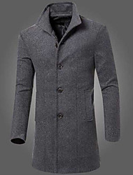 cheap -Men's Daily Simple Casual Winter Fall Long Coat,Solid Peaked Lapel Others