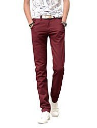 cheap -Men's Mid Rise Inelastic Straight Chinos Pants,Casual Solid Cotton Summer Fall
