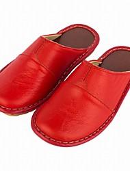 Feminino Chinelos e flip-flops Conforto Primavera Outono Pele Real Casual Combinação Rasteiro Fúcsia Vermelho Vinho Rasteiro