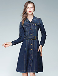 EWUS Women's Going out Casual/Daily Street chic Denim DressSolid Shirt Collar Knee-length Long Sleeves Polyester Fall High Rise Inelastic