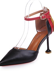 cheap -Women's Shoes PU Fall Basic Pump Heels Stiletto Heel Pointed Toe Split Joint For Dress Beige Black