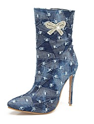 Women's Shoes Denim Fall Winter Cowboy / Western Boots Fashion Boots Boots Stiletto Heel Pointed Toe Mid-Calf Boots Rhinestone Bowknot