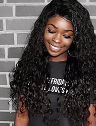cheap -Women Human Hair Lace Wig Brazilian Human Hair 360 Frontal 180% Density With Baby Hair Water Wave Wig Black Medium Brown Dark Brown Black
