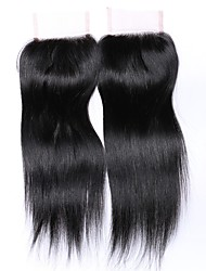 20 pollici di grado 8a 4x4 chiusura superiore merletto 100% capelli umani brasiliani 3 pezzo / parte centrale / parte libera # 1b chiusura