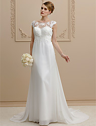 Sheath / Column Illusion Neckline Court Train Chiffon Lace Wedding Dress with Appliques Bow by LAN TING BRIDE®