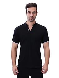 cheap -Men's Daily Plus Size Casual Summer Polo,Solid Letter V Neck Short Sleeves Cotton Spandex Medium