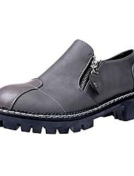 Women's Oxfords Comfort Fall PU Casual Zipper Flat Heel Green Gray Black 2in-2 3/4in