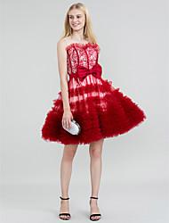 abordables -Corte en A Princesa Joya Corta / Mini Encaje Tul Fiesta de Cóctel Vestido con Lazo(s) Cinta / Lazo A Capas por TS Couture®