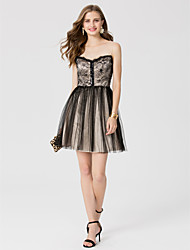 cheap -A-Line / Princess Jewel Neck Short / Mini Lace / Tulle Cocktail Party / Homecoming / Prom Dress with Sequin / Pleats by TS Couture®