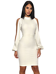 cheap -Women's Party Club Sexy Bodycon Dress,Solid Turtleneck Above Knee Long Sleeves Polyester Spandex Fall High Rise Micro-elastic Medium