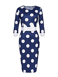 cheap -Women's Plus Size Vintage Sheath Dress - Polka Dot Blue, Bow High Rise