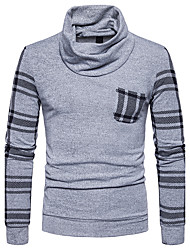 Men's Casual/Daily Regular Cardigan,Color Block Halter Long Sleeves Polyester Fall Winter Medium Micro-elastic