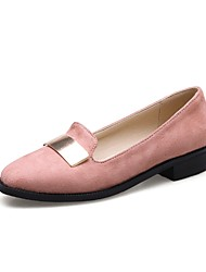 Women's Loafers & Slip-Ons Comfort Spring Fall Flocking Outdoor Office & Career Sequin Flat Heel Blushing Pink Red Black Flat