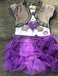 cheap -Girl's Daily Going out Print Dress,Cotton Polyester Spring Summer Short Sleeve Cartoon Green Purple