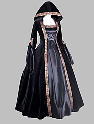 cheap -Renaissance Medieval Female One-Piece/Dress Black Cosplay Satin Sleeveless Floor Length