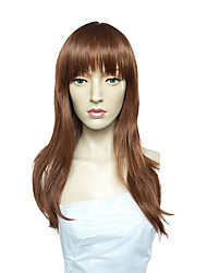 cheap -Women Synthetic Wig Capless Long Straight Medium Auburn Side Part With Bangs Party Wig Celebrity Wig Halloween Wig Cosplay Wig Natural
