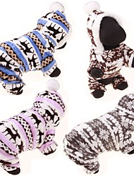 cheap -Dog Hoodie Jumpsuit Sweaters Winter Clothing Dog Clothes Casual/Daily Reindeer Gray Coffee Blue Pink Leopard Costume For Pets