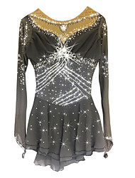 Figure Skating Dress Women's Girls' Ice Skating Dress Gray Spandex Rhinestone High Elasticity Performance Skating Wear Handmade Long
