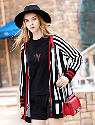 BLUEOXY Women's Going out Simple Vintage Fall Winter Jacket,Striped V Neck Long Sleeve Regular Polyester Others