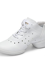 """Women's Dance Sneakers Real Leather Sneaker Outdoor Sided Hollow Out Low Heel Black White 1"""" - 1 3/4"""""""
