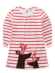 preiswerte -Mädchen Kleid Alltag Ausgehen Gestreift Tierfell-Druck Baumwolle Frühling Herbst Langarm Streifen Tierdruck Rote