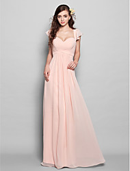 cheap -Product Sample Sheath / Column Straps Floor Length Chiffon Bridesmaid Dress with Sash / Ribbon Pleats by LAN TING BRIDE®