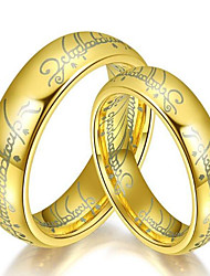 cheap -Couple's Band Ring - Titanium Steel Fashion 6 / 7 / 8 Gold / Black / Silver For Daily
