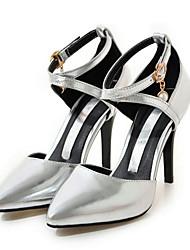 Damen Schuhe PU Frühling Herbst Komfort Neuheit High Heels Stöckelabsatz Spitze Zehe Schnalle Für Kleid Gold Silber Rosa