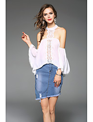 cheap -Women's Going out Cute Sexy Blouse,Solid Halter Short Sleeves Polyester