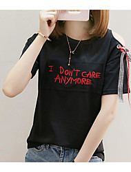 cheap -Women's Cute Cotton T-shirt - Embroidery Letter, Print Embroidered Patchwork