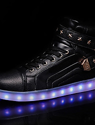 Men's Sneakers Light Up Shoes Spring Fall PU Casual LED Lace-up Flat Heel Red Black White Flat