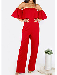 cheap -Women's Holiday Street chic Solid Off Shoulder Jumpsuits,Wide Leg Half Sleeves Summer Others