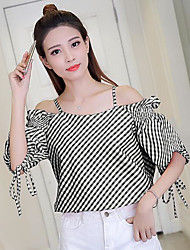 Women's Casual/Daily Simple Blouse,Print Boat Neck Short Sleeves Others