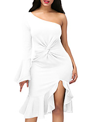 Women's Party Club Sexy Bodycon Dress,Solid One Shoulder Asymmetrical Long Sleeves Polyester Spandex Fall High Rise Stretchy Medium