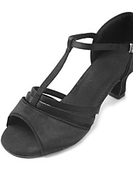 Women's Latin Satin Sandal Heel Beginner Buckle Cuban Heel Black 1 - 1 3/4 Customizable