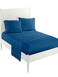 cheap -Comfortable 100% Polyester Sheet Set Plain Solid Piece Dyed 300TC