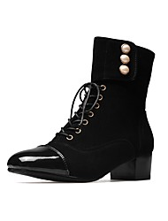 cheap -Women's Shoes Flocking Patent Leather Fall Winter Comfort Boots Chunky Heel Square Toe Pearl Lace-up For Outdoor Office & Career Gray