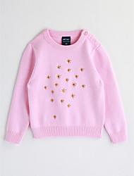 abordables -Blusa Chica Bordado Algodón Mangas largas Otoño Rojo Rosa