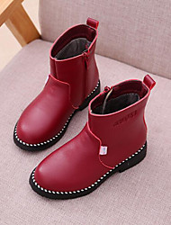 cheap -Girls' Shoes Synthetic Winter Fluff Lining Fashion Boots Boots Mid-Calf Boots For Casual Dress Blushing Pink Red Black