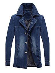 economico -Giacca di jeans Da uomo Per uscire Serata Vintage Moda città Autunno Inverno,Tinta unita Colletto alla Peter Pan Cotone Rayon Standard