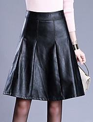 abordables -Femme Grandes Tailles Trapèze Jupes - Couleur Pleine