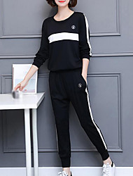 cheap -Women's Daily Plus Size Casual Fall Hoodie Pant Suits,Print Round Neck Long Sleeve Polyester Inelastic