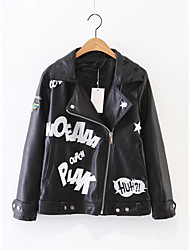 Women's Going out Casual/Daily Simple Street chic Spring Fall Leather Jacket,Solid Print Letter Notch Lapel Long Sleeve Regular Others