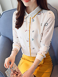 Women's Casual/Daily Work Simple Spring Fall Blouse,Print Shirt Collar Long Sleeves Polyester Thin