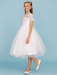 cheap -A-Line Princess Knee Length Flower Girl Dress - Lace Tulle Short Sleeves Crew Neck with Pleats by LAN TING BRIDE®