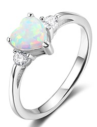 Women's Band Rings Synthetic Opal Classic Sterling Silver Geometric Jewelry For Gift Valentine