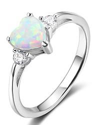 abordables -Mujer Anillos Opal sintético Clásico Plata de ley Forma Geométrica Joyas Para