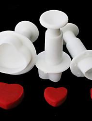 economico -La muffa della taglierina del pistoncino del cuore di amore di 1 set / 3pcs lo zucchero la torta fondente che decorano l'attrezzo diy